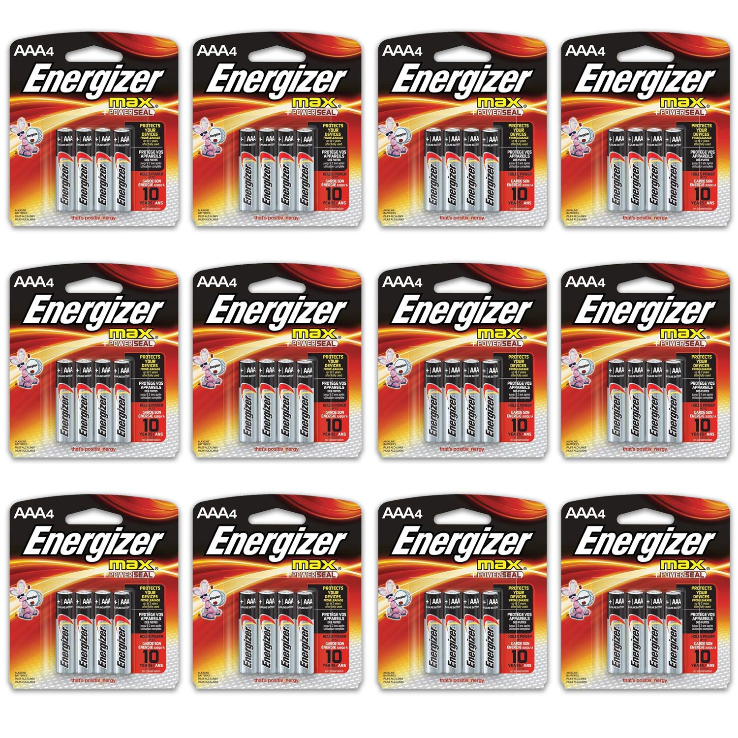 48 Count Energizer Max AAA Batteries - 12 Pack of 4 AAA4 Total of 48 Batteries, The Perfect Choice of Power for All AAA Battery Operated Devices by HeroFiber