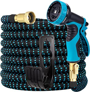 LOOHUU Expandable Garden Hose 25ft, Water Hose with 10 Function Spray Nozzle, Heavy Duty, Lightweight, 3/4 Inch Solid Brass Fittings and 3-Layer Latex Core