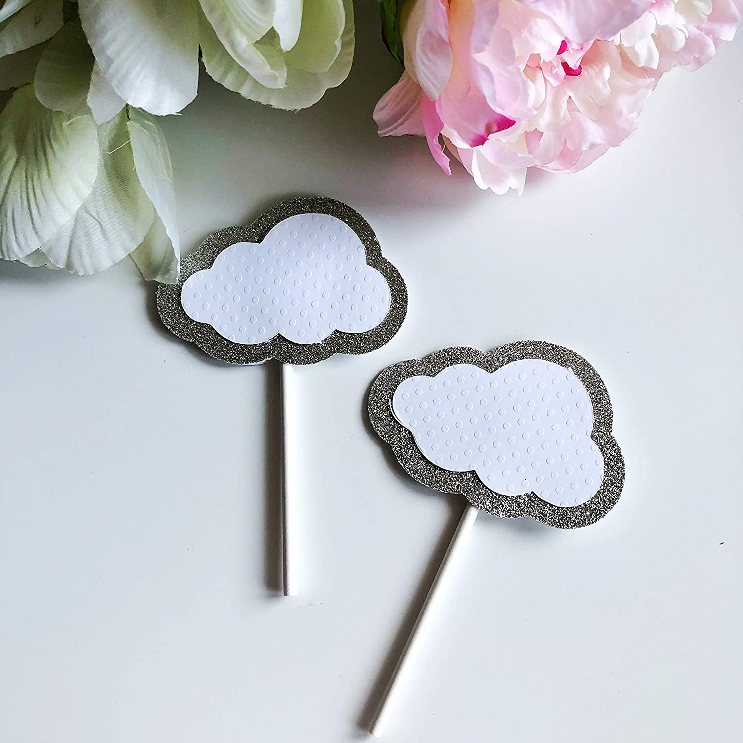 Cup Cake Topper,Baby shower topper,birthday party cupcake toppers Cloud 12 Sparkly Cloud cupcake toppers