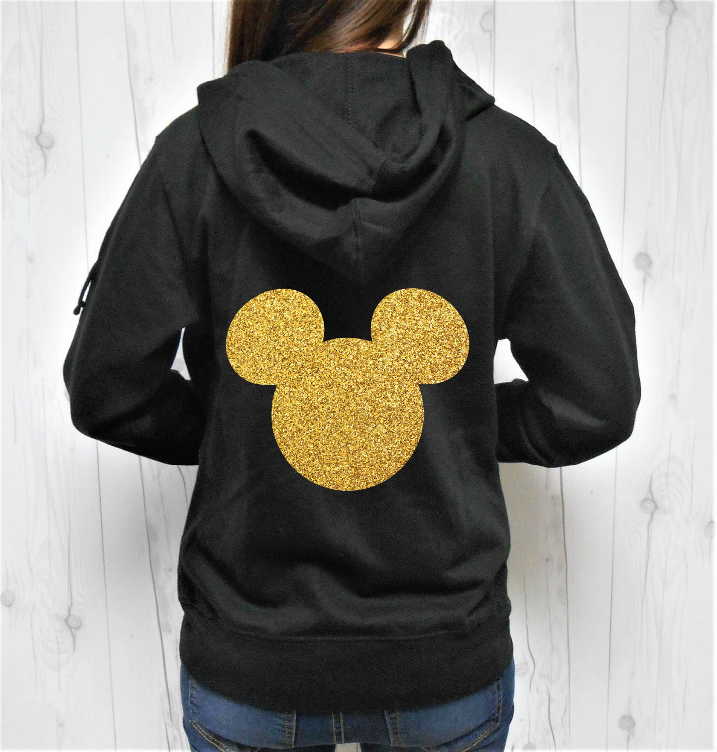 SGC Women's Glitter Mouse Head Hoodie, Mouse Head Zip-Up, Mouse Head Jacket