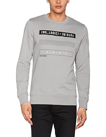 JACK & JONES Jcoleonard Sweat Crew Neck, Sudadera para Hombre, Gris (Monument Fit