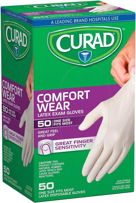 Curad Powder-Free Latex Exam Gloves-50 ct