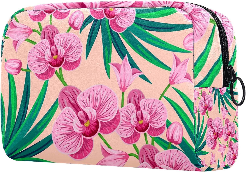 Bolsa de cosméticos para mujer, diseño de hojas de palma tropicales y flores de orquídea, bolsas de maquillaje, accesorios organizador de regalos