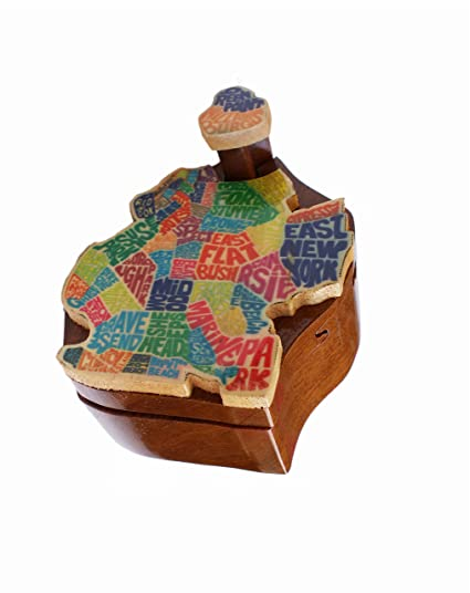 Amazoncom Pretty Wood Box Brooklyn Map Puzzle Box Home Kitchen