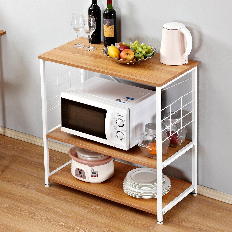 Need Kitchen Rack 31.5'' x 15.7'' Baker's Rack Kitchen Utility Microwave Oven Storage Cart Workstation Free Standing Shelf, Teak AG4BW-80