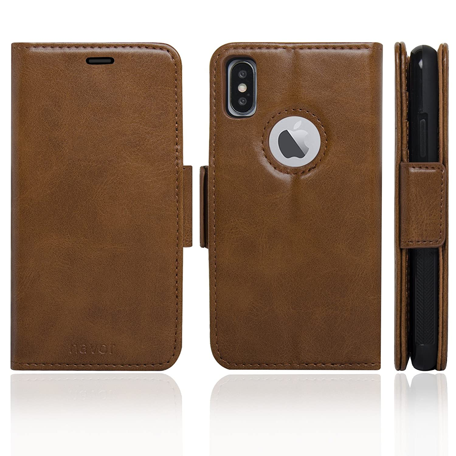 Logo Hole Vajio Series 4326797482 IP7PVJBR Navor Detachable Magnetic Wallet Case RFID Protection Brown Compatible for iPhone 7 Plus