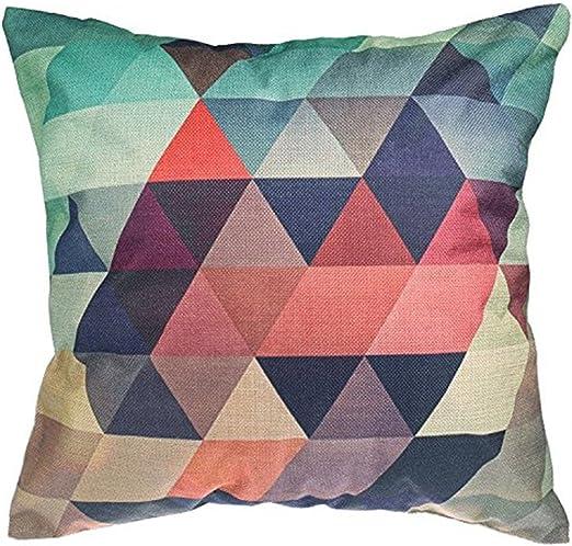 Luxbon Funda Cojines 45x45 Sofá Multicolor Tres Triángulos