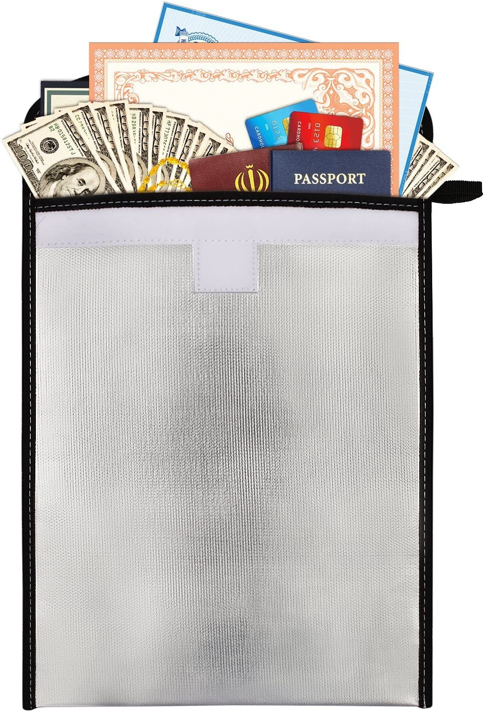 Fireproof Bag A4 Document Bag Water Resistant Storage Pouch NON-ITCHY Fiberglass Protective Case for Documents Passport Cash Bills Batteries Valuables