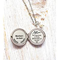 Mother in Law Keepsake Gift Marriage Made Us Family but Love Made You My Mom Long Locket Necklace,Mother of the Groom,Mother of the Bride Gift Wedding Day Gift for Mom