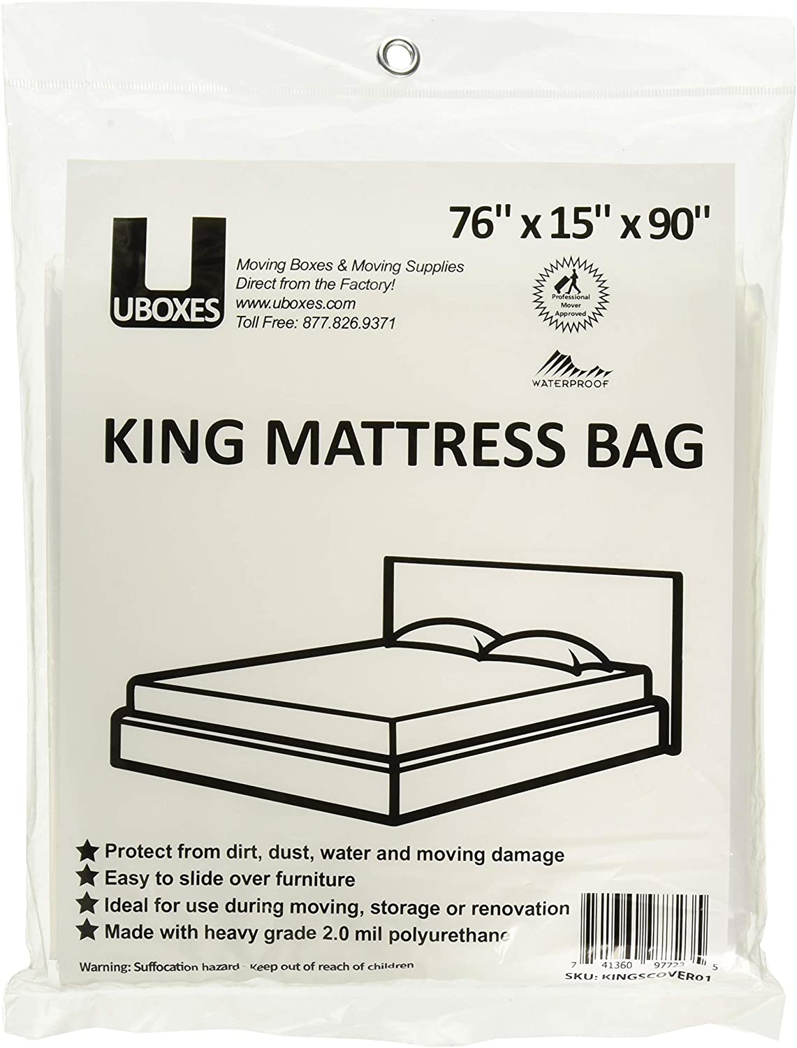 Uboxes King Mattress Poly Covers, 76 x 15 x 90 in, 1 Pack (KINGSCOVER01)