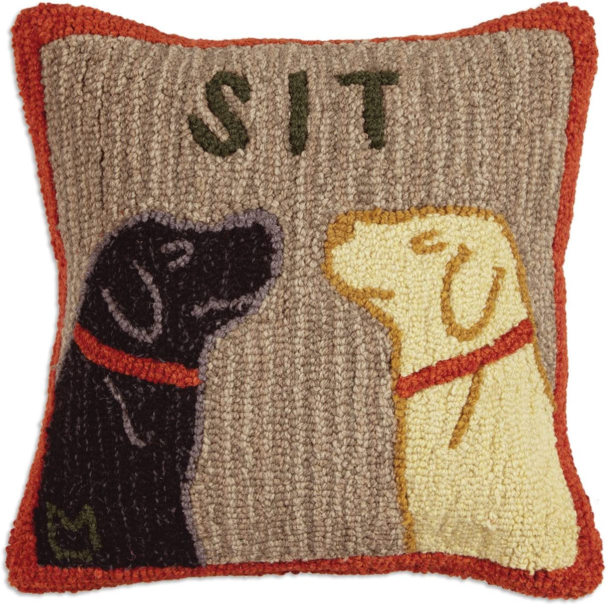 Chandler 4 Corners Artist-Designed Two Dogs Sitting Hand-Hooked Wool Decorative Throw Pillow 18 x 18