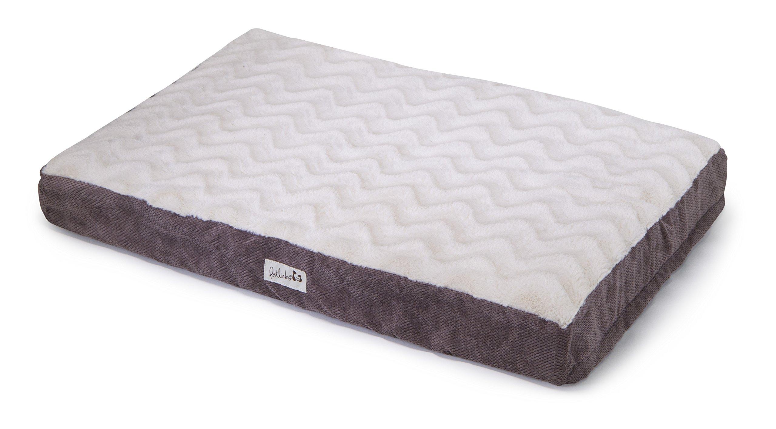 Petlinks Snooze Pad Convoluted Foam Pet Bed, Medium, Cream Plush/Brown