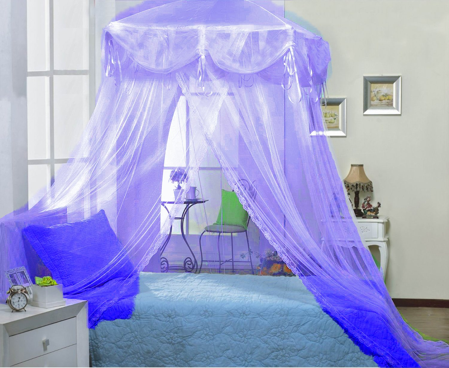Amazon.com White four Corner Square Princess Bed Canopy By Sid Kitchen u0026 Dining : canopy for girl bed - memphite.com