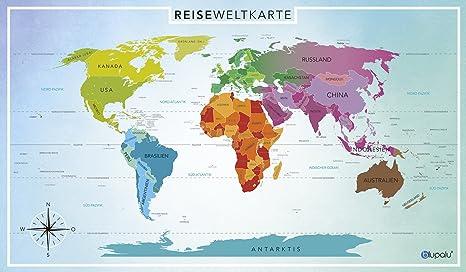 Landkarte Deutsch.Blupalu I Premium Xxl Weltkarte Mit Fahnchen I Pins I Landkarte I Reiseweltkarte In Deutsch