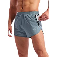 Pudolla Men's Running Shorts 3 Inch Quick Dry Gym Athletic Workout Shorts for Men with Zipper Pockets
