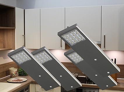 LED Unterbauleuchten 4-er Set / Alu / Lichtfarbe warm weiß / Art ...