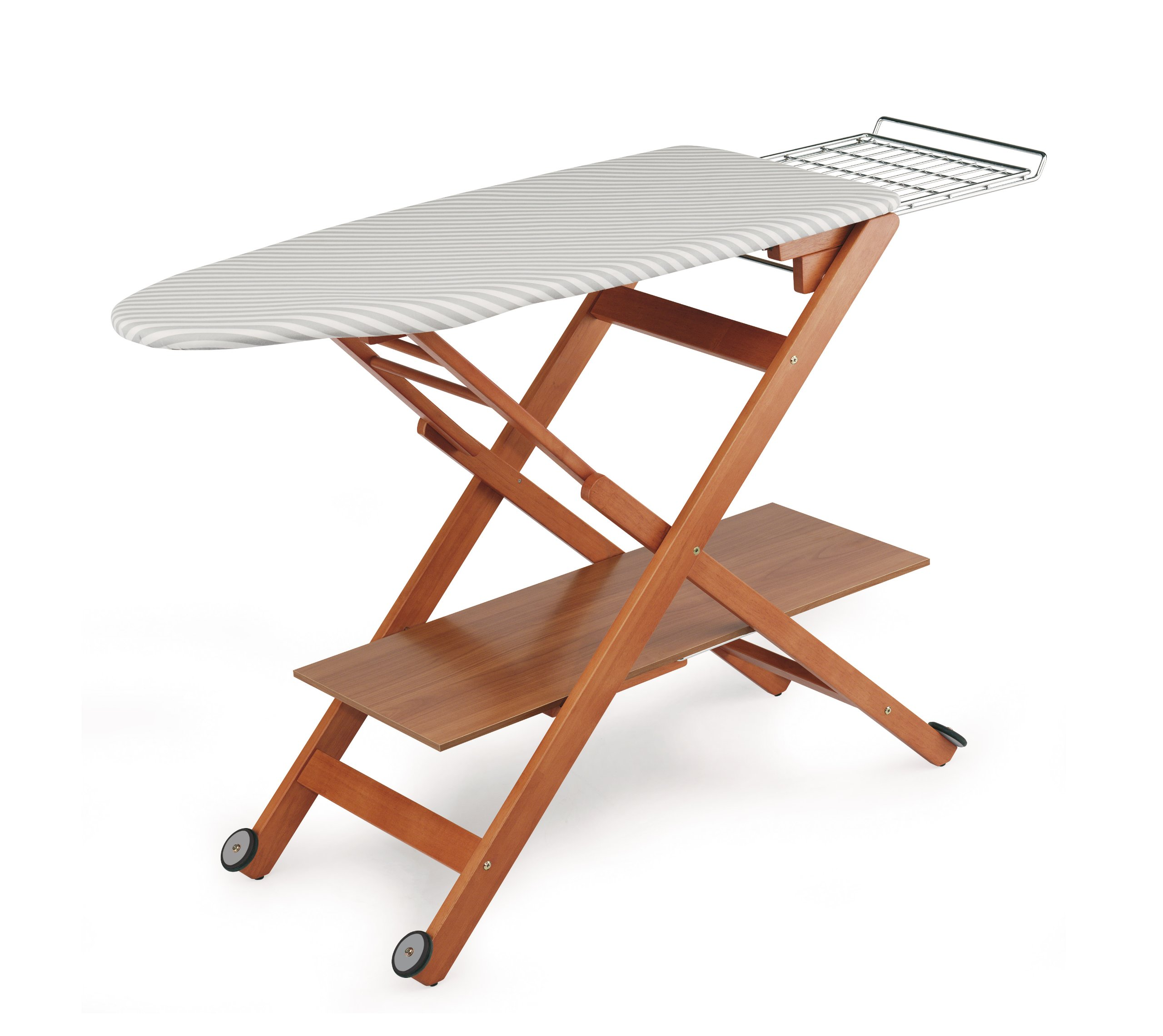 Aris Regolstir - Folding Ironing Board In Solid Beech Wood - 3 Height Positions - Portable on Castors -Handcrafted in Italy - Cherry Finish