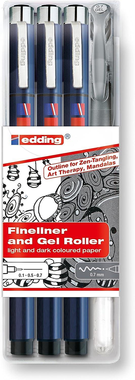 """Edding 4-1800-2185-4""""Zendoodle Outline"""" Fineliner-Set (Pack of 4)"""
