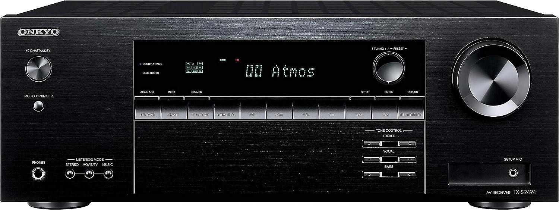 Amazon Com Onkyo Tx Sr494 Av Receiver With 4k Ultra Hd Dolby Atmos Dts X Hi Res Audio 2019 Model Electronics