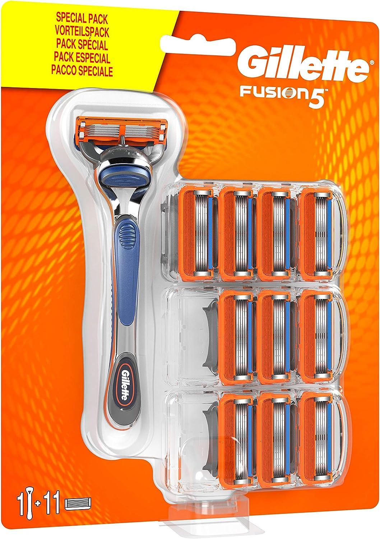 Gillette Fusion5 Maquinilla de Afeitar Hombre + 11 Cuchillas de Recambio, Regalos Originales para Hombre