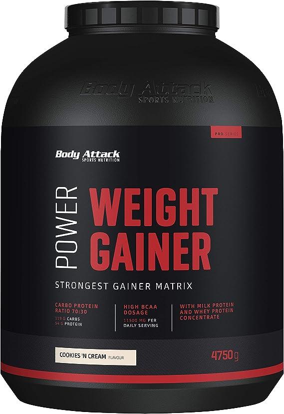Body Attack Power Weight Gainer (aumento de peso), galletas y ...