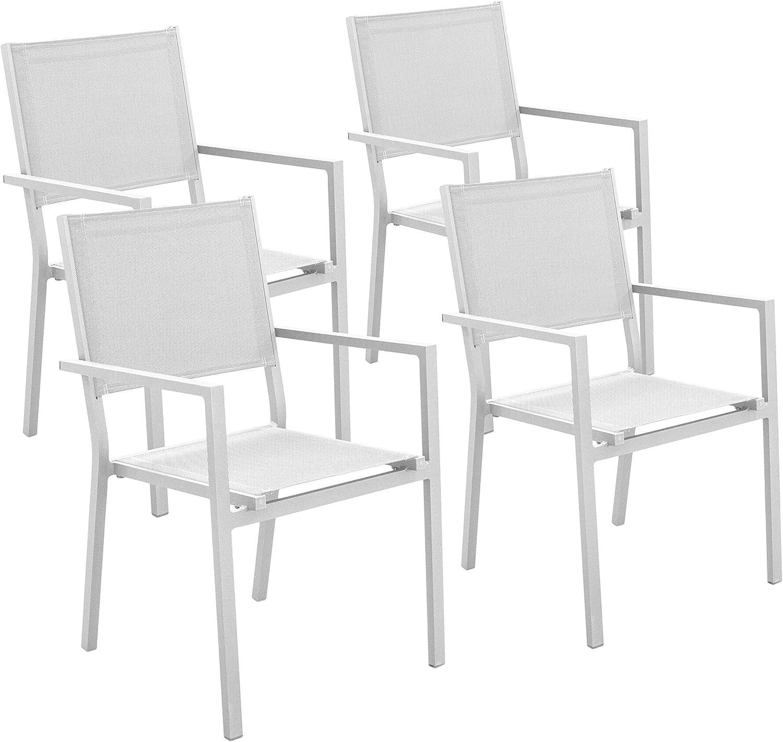 Hevea 4 sillones Bora Blanco Aluminio/textilén Comedor Exterior: Amazon.es: Jardín