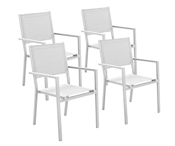 Hevea 4 sillones Bora Blanco Aluminio/textilén Comedor ...