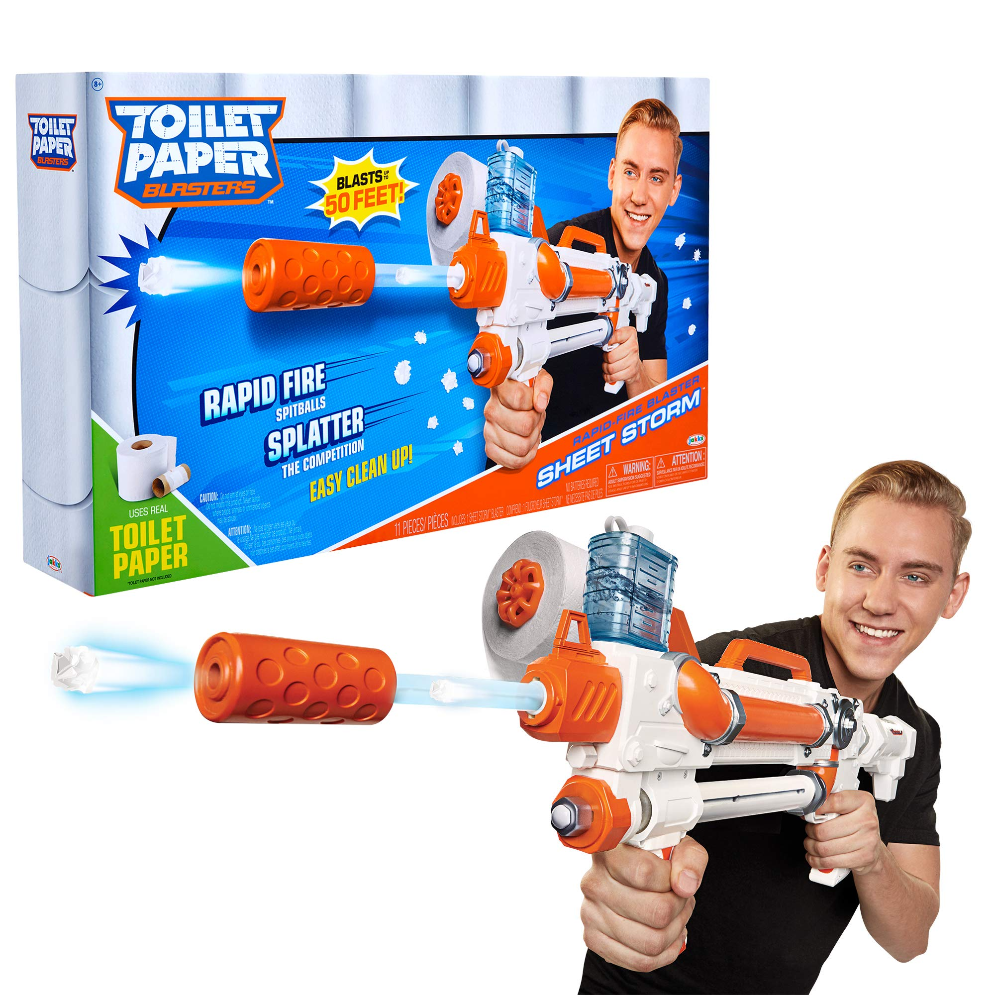 Toilet Paper Blasters Sheet Storm, Toy Blaster Shoots Rapid Fire TP Spitballs up to 50' - Uses Real Toilet Paper! Super Fun Gift for Kids, Teens, College Students, Dads, Adults - Outdoors & Indoors by TP Blaster