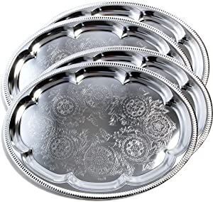 "Maro Megastore (Pack of 4) 18.1"" x 13.3"" Traditional Oval Floral Pattern Engraved Catering Chrome Plated Serving Plate Mirror Tray Platter Metal Tableware Multi-Purpose Holiday Party Large T225-4PK"