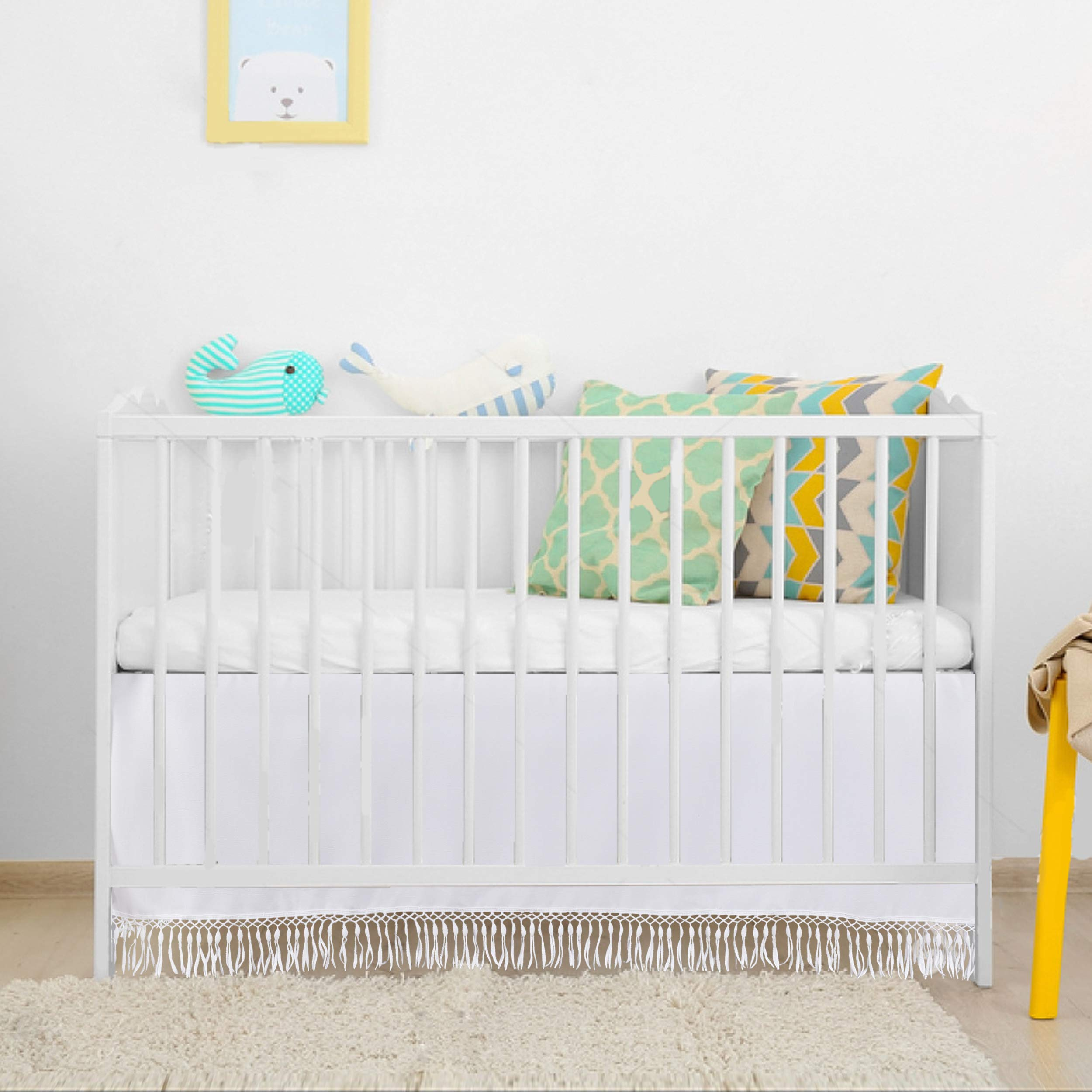 White Droplets Crib Skirt for Standard Crib Bed 52 by 28 by 15 Inches by HB HBB MAGIC