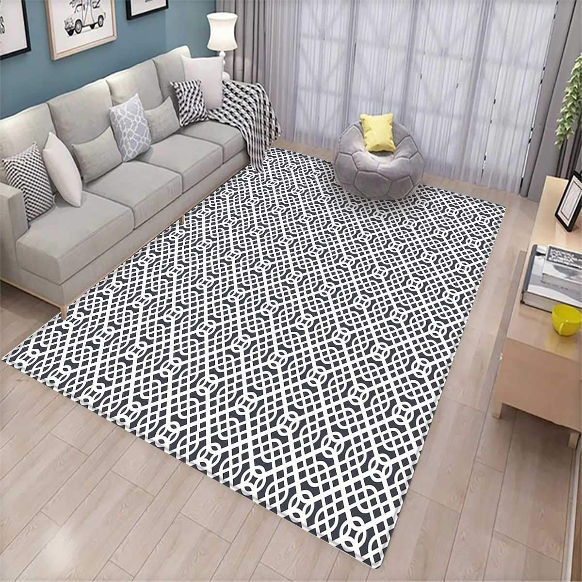 Geometric Extra Large Area Rug Curved Diagonal Lines with Complex Monochrome Design Vintage Inspiration Bath Mat for tub Charcoal Grey White