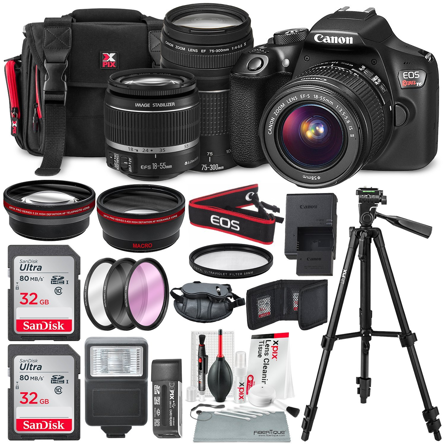 Canon EOS Rebel T6 DSLR Camera with EF-S 18-55mm f/3.5-5.6 IS II Lens, EF 75-300mm f/4-5.6 III Lens, 64GB, along with Fibertique Cleaning Cloth, and Xpix cleaning Kit and Deluxe Accessory Bundle by Photo Savings