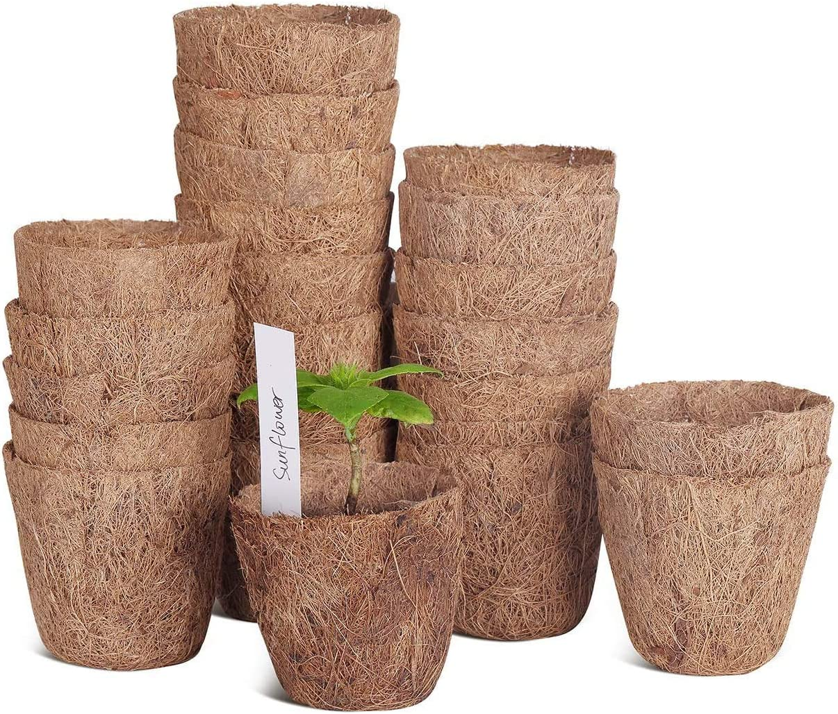"SOLIGT 20 Pack of 3"" Coco Coir Seed Starter Pots, Sustainable & Biodegradable Pots Aternative to Peat Pots, Includes 10 Plastic Plant Markers"