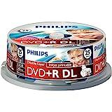 Philips DVD+R Rohlinge (8.5 GB Data/ 240 Minuten Video, 8x High Speed Aufnahme, 25er Spindel, double layer DL, inkjet printable)