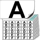 Adesivi in plastica alta qualità lettere da A a Z (5 di ogni lettera + 25 pezzi vuoti di scorta). Stock etichette ultra resistenti. Utilizzabili all'aperto. 100% resistenti all'acqua.