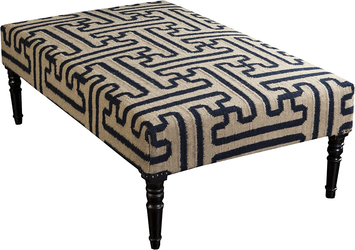 Surya Ottoman, 52 by 32 by 18-Inch, Olive/Navy