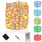 tesyker Fairy USB Powered Dimmable Multicolor Silver Wire Color Lights Remote, 33 Ft,100 LEDs, Waterproof String Indoor Bedroom Christmas Wedding Costume, 16