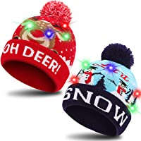 Geyoga 2 Pieces LED Christmas Beanie Cap Light-up Christmas Knitted Hat Ugly Sweater Hat for Holiday Flashing Cap