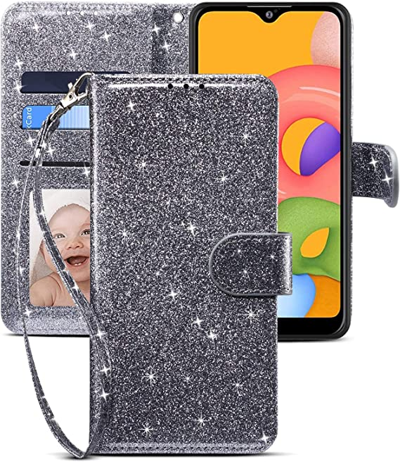 Gelusuk Samsung Galaxy A01 Case,Bling Sparkly Diamonds Flower PU Leather Flip Cover Glitzer Wallet Case Bookstyle Full Protection Phone Case for Samsung A01,Brown Card Holders