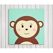 Cute Little Animals Nursery Wall Decor, Baby Room Canvas Art (11  W x 11  H, Monkey)
