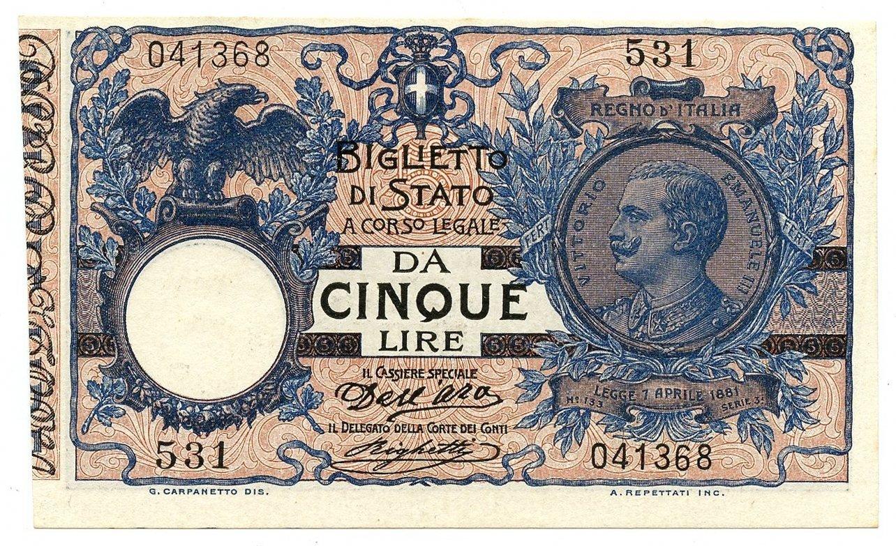 Cartamoneta  5 Lire Floreale Matrice EFFIGE Vittorio Emanuele III 08 11 1904 qFDS