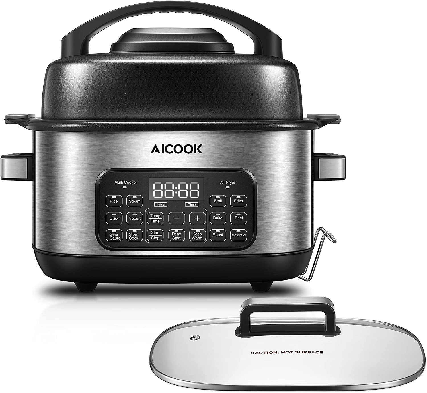 Slow Cooker Air Fryer Combo, AICOOK 12-in-1 Multicooker 6.5 Quart Programmable Rice Cooker Yogurt Maker Steamer Food Warmer Electric Pot with Delay Start, Adjustable Temp & Time, Fry Basket, Glass Lid
