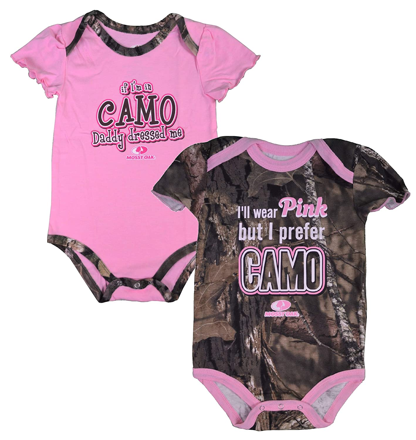 Mossy Oak Infant Baby-Girls 2-Pack CAMO Body-Suits (Pink/Camo Green)