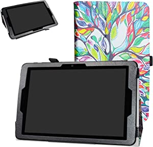 "ZTE ZPad 10 Inch Tablet Case,Bige PU Leather Folio 2-Folding Stand Cover for 10.0"" ZTE ZPad 10 Inch (Model K90U) Tablet,Love Tree"