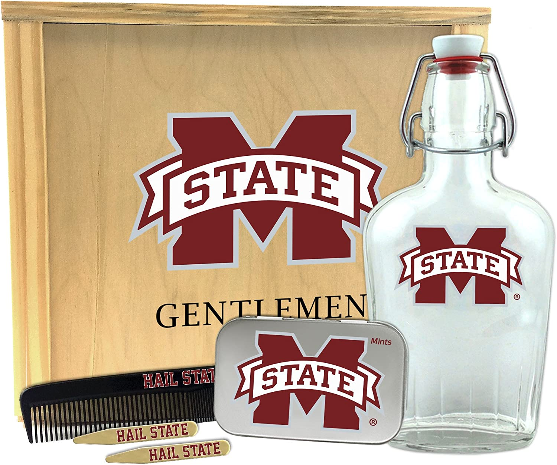 Worthy Promo NCAA Mississippi State Bulldogs Gentlemens Gift Box 1-250 ml Glass Swing-Top Bottle 10 x 9 x 3.75