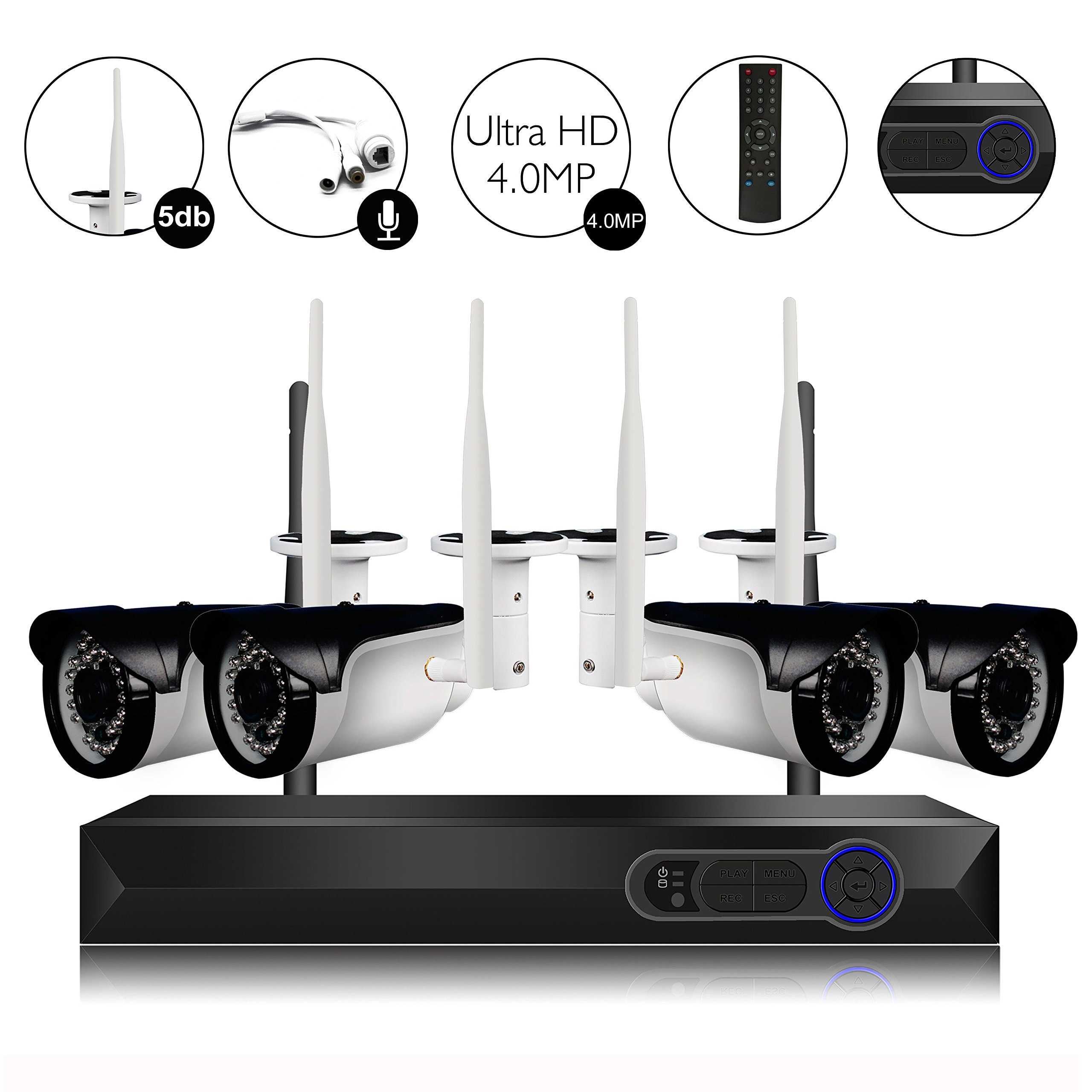 CAMVIEW 4CH 2592x1520P Wireless Security CCTV Surveillance System WiFi NVR Kits, 4 x 4.0MP Wireless Indoor/Outdoor IP Cameras, Microphone Plug, Night Vision, Ultra HD, HDD not Included