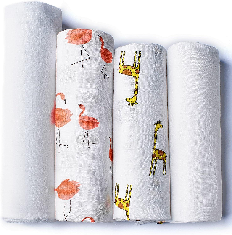 Mantas de Muselina Pack de 4 para Bebés | 2 mantas de Algodón ...