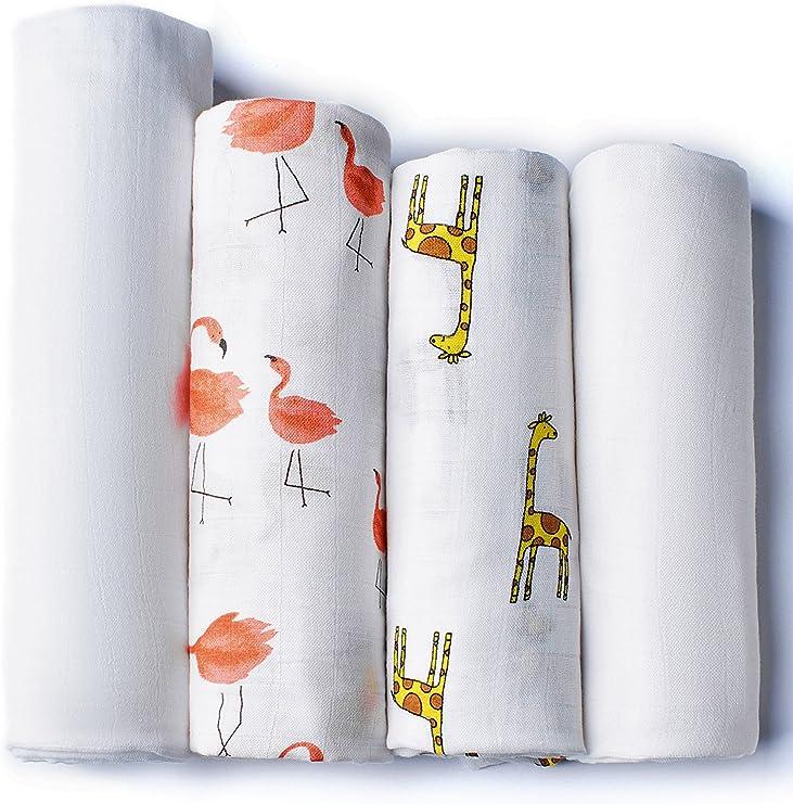 Mantas de Muselina Pack de 4 para Bebés | 2 mantas de Algodón Orgánico y 2 de Bambú Orgánico | Paños de Bebé de Calidad Superior | Hipoalergénicas 120 x 120: Amazon.es: Bebé