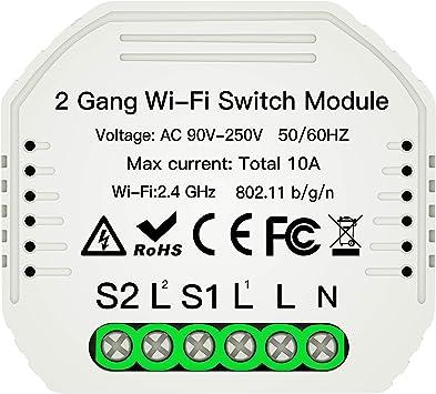 MOES WiFi Smart Light Switch DIY Breaker Module Smart Life//Tuya APP Control remoto trabajando con Alexa Echo Google Home 2 Gang 2 Way