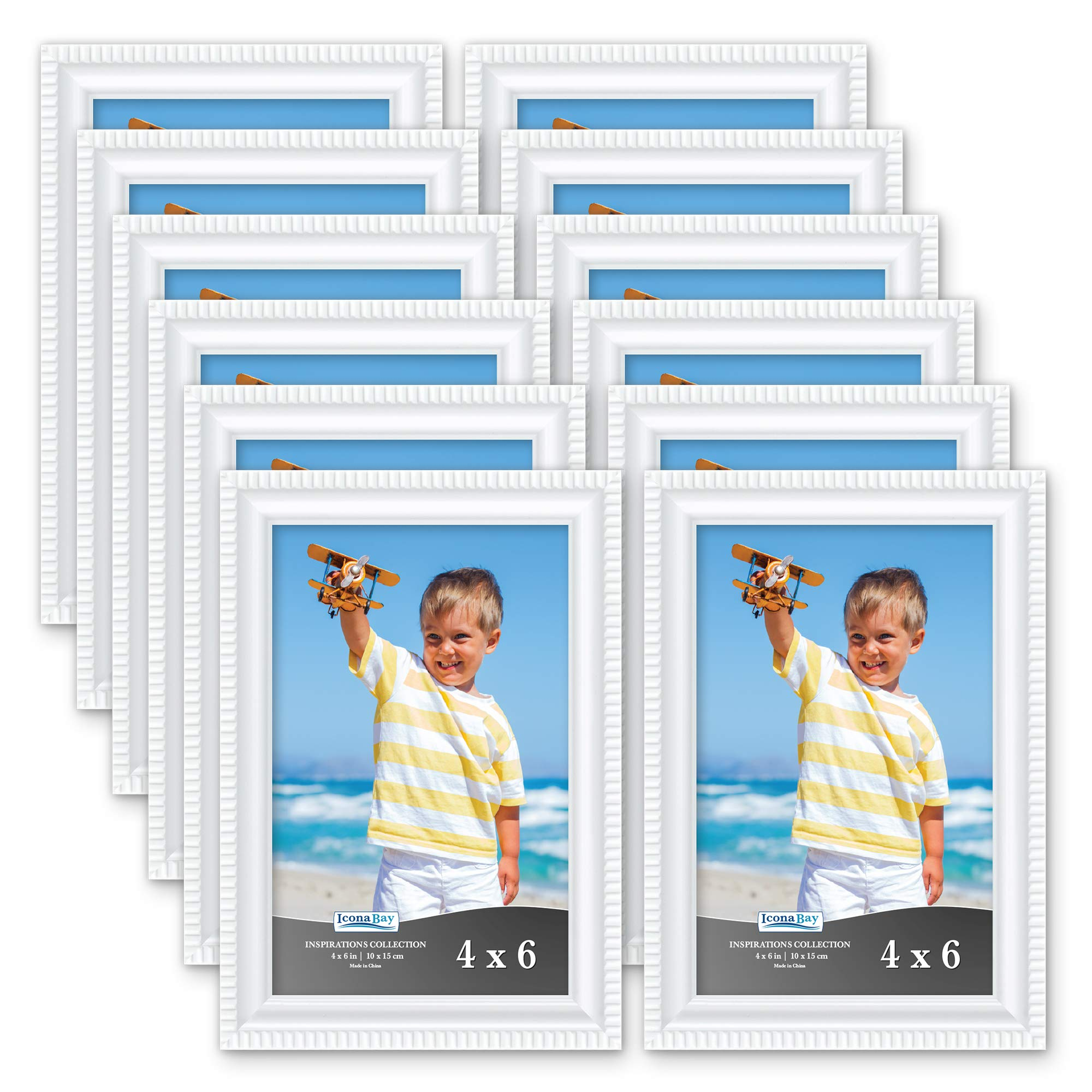 Icona Bay 4x6 Picture Frames (12 Pack, White) Picture Frame Set, Wall Mount or Table Top, Set of 12 Inspirations Collection by Icona Bay